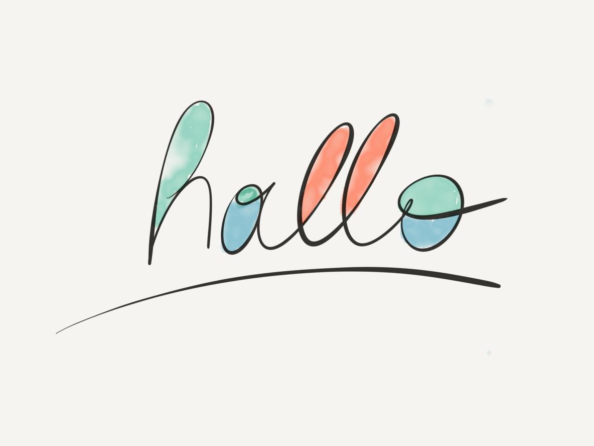 Hallo. Geschrieben am iPad Pro mit dem  Pencil